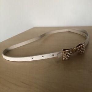 Embellished Bow Pearl Gold Beige Thin Belt