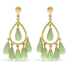 Designer 10K Solid Yellow Gold with Jade Gemstones Chandelier Earrings