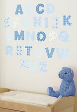 Lot ™ Wall Art Stickers 🔵 Chambre Nursery Alphabet Lettres Bleu 🇬 🇧