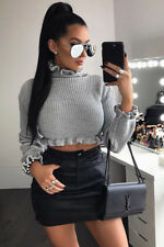 Ladies Womens Cropped Knitted Jumper Ruffle Frill Fashion Hem Long Sleeve Top UK