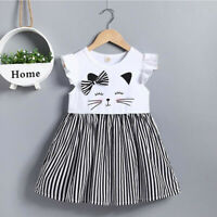 Toddler Kids Baby Girl Sleeveless Cat Print Stripe Princess Dress Casual Clothes