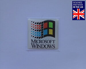 "Microsoft Windows 25 x 25mm 1"" Domed PC Case Badge Logo Decal NT 3.1 95 98"