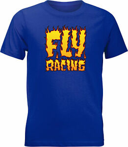 Fly Racing Youth Fly Fire Tee Royal Blue Ys 352-0654Ys