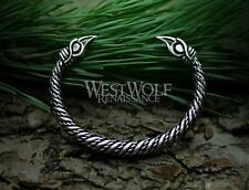 Silver Viking Raven Torc with Odin's Ravens Hugin and Munin --- Norse Bracelet