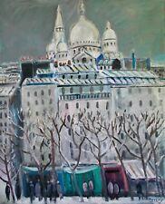 SAVARY - Peinture originale - Huile sur toile - Le sacré coeur sous la neige