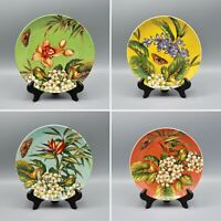 Certified International Tropical Flowers Dessert Plates Pamela Gladding WITH BOX
