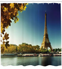 Eiffel Tower Shower Curtain Seine River Scenery in Autumn 84 Inches Extra Long
