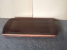 Vintage 6pc HASKO Midcentury Wood TV Buffet Breakfast Bar Tray Serving USA Made