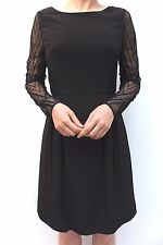 Karen Millen Black Zig Zag Mesh Lace Sleeve Shift Cocktail Party Dress 10 38 New