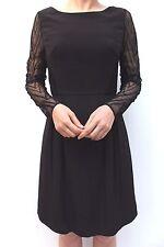 Karen Millen Black Zig Zag Mesh Lace Sleeve Shift Cocktail Party Dress 10 38 New