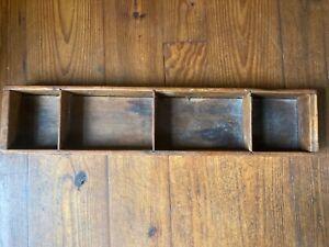 "Antique PRIMITIVE LONG WOODEN DIVIDED CUBBY DISPLAY BOX Bin Shelf 33"" x 7"" x 3"""