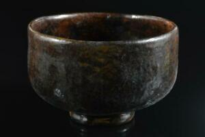 #6466: Japanese Old Raku-ware Brown glaze TEA BOWL Green tea tool Tea Ceremony