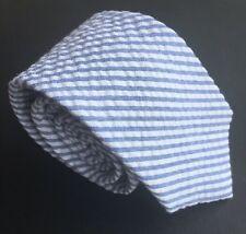 "Mens Express Neck Tie Slim Skinny Cotton Blue White Stripe Narrow 2.5"""