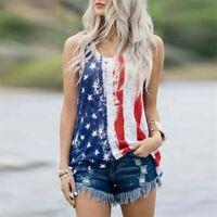 Womens Sleeveless Vest Patriotic Stripes Star American Flag Print Vest Top
