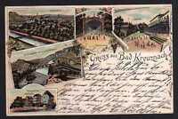 88253 AK Bad Kreuznach 1899 Litho Brückenhäuser Kurhaus ...