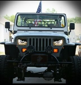 87-96 Fits Jeep Wrangler YJ Wagoneer WOW Comanche Cherokee Angry Eyes Mad Decal
