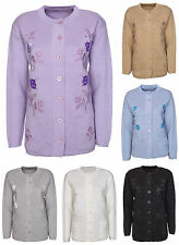 New Womens Cardigan Ladies Long Sleeves Button Up Crew Neck Aran Plus Size 16-22