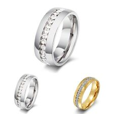 Size 5-15 Titanium Ring Men Women Wedding Stainless Steel Engagement Crystal