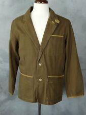 Orvis Zambezi Men's Travel Jacket Sz 38 Cotton Canvas Leather Trim Field Blazer
