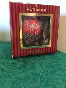Waterford Crystal Crimson Mirror Ball VINTAGE BIG Christmas Ornament NIB