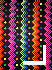 Multi Color Chevron Stripe Cotton Fabric Zig Zag Black RJR Jungle Things -30""