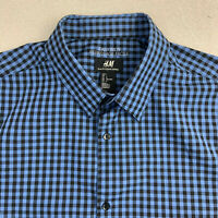 H&M Easy Iron Button Up Shirt Mens Large Blue Black Check Short Sleeve Casual