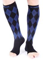 Doc Miller Open Toe Compression Sock 1 Pair 20-30 mmHg Varicose Veins BLACK/BLUE
