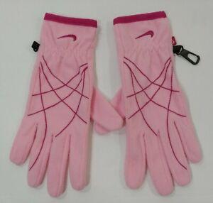 Nike Active Sport Wear Poly Micro Fleece Warm Winter Gloves PINK Womens Sm/Med