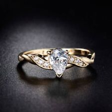 Cubic Zirconia Solitaire Yellow Gold Filled Fashion Rings eBay