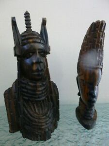 Vintage Hand Carved Wooden Tribal Heads Man & Woman Ornaments / Figurines