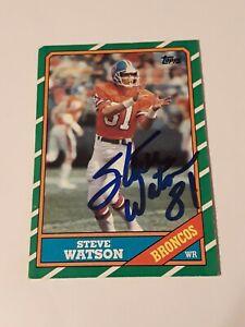 Steve Watson Auto autograph signed 1986 Topps card Denver Broncos