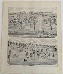 1873 Illinois Burruss Ashlock Farms Greene County Print from Atlas
