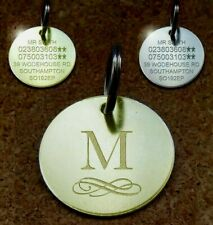 NEW Engraved Pet Tags INITIAL ID Disc Collar Tag Cat Dog Brass Silver Nickel