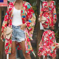 US Women Floral Print Kimono Cardigan Chiffon Loose Shawl Top Cover up Blouse