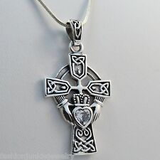Large Celtic Claddagh Cross Necklace-925 Sterling Silver-Claddagh Pendant CZ SN