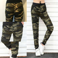 Womens High Waist Camouflage Joggers Trousers Ladies Casual Camo Cargo Pants