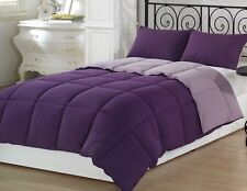 Chezmoi Collection 3pc Reversible Down Alternative Comforter Set King, Purple