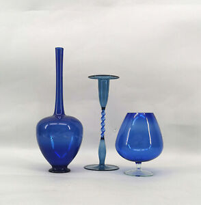 9983535472 3 Vasen Lauscha Thüringen Hbis27,5cm blau