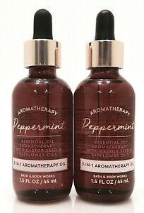 2 BATH & BODY WORKS 3 IN 1 PEPPERMINT AROMATHERAPY ESSENTIAL OIL 1.5oz 45ml NEW!