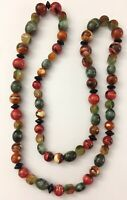 """Vintage Multi Color Swirl Design Plastic Beaded Marbled Retro Beads Necklace 32"""""""