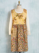 April Cornell Apron September Patchwork Adult O/S NWT Cotton Soft Gold Paisley