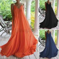US STOCK Women Summer V Neck Swing Prom Party Dress Long Maxi Dress Plus Size