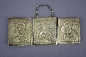 Ikone Russland Bronze Reiseikone Triptychon um 1800 Russian travel icon