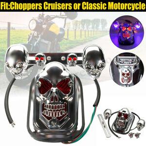 Chrome Motorcycle Skull Rear Brake Stop Tail Light+2 Turn Signal Lamp For  NEW