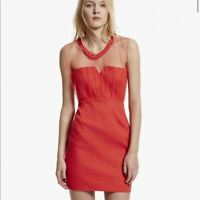 NWT The Kooples Red Embossed Polka Dot Mesh Dress Size 36 Cocktail Party