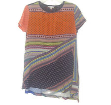 John Mark Multi Mix Embroidered Asymmetrical Hem Tunic Women's Size M