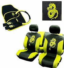 15PC Dragon Estilo Universal completo cubierta de asiento Set Amarillo Verde Rosa Lavable
