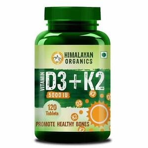 Himalayan Organics Vitamin D3 5000iu with K2 as MK7 100mcg supplement - 120 Veg