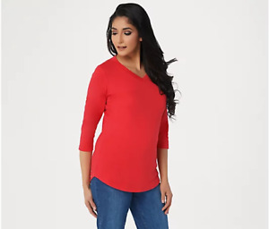 Isaac Mizrahi Live! Essentials Pima Cotton 3/4 Sleeve Tunic-Exotic Red-XL NEW