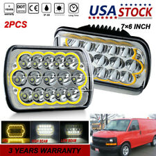 "Pair 7x6"" LED Projector Headlight Hi-Lo Beam H4651 For Chevrolet Astro 1985-1998"